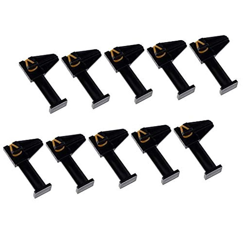 護衛逆にローマ人10ピース/個ネイルアートポリッシュUVジェルクリップネイルシェイプCカーブアクリルまたはジェルツール - ブラック