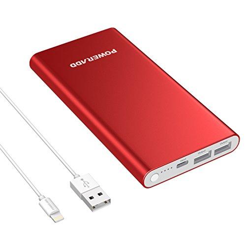 「限定版」Apple lightning 12000mAh モバイルバッテリー Poweradd Pilot 4GS アップルファン専用 充電器 シングルポート3A出力 iPhone/iPad / iPod 等対応 ライトニングケーブル付け(レッド)