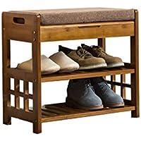 靴のベンチを交換する竹の靴のラックソリッドウッドテストシューズのキャビネット現代のシンプルさ靴のスツールを着用ストレージスツール (色 : A, サイズ さいず : 52 * 29 * 49cm)