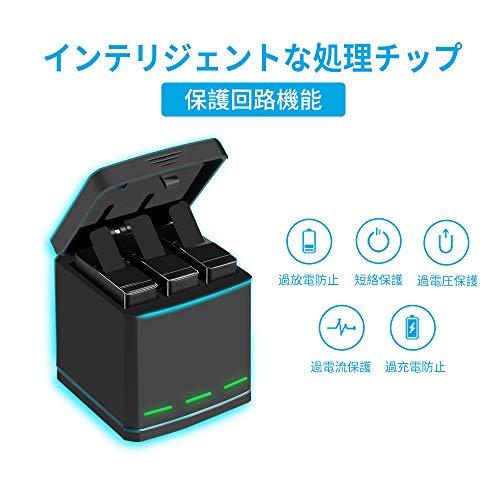 『TELESIN GoPro Hero 7black/Hero 6/Hero 5/gopro hero用互換バッテリー3個 ボックス収納式 USB充電器付き 3個バッテリーケース付き Type-Cインターフェイス 3個同時充電可能 (充電器+3バッテリー+type-c)』の2枚目の画像