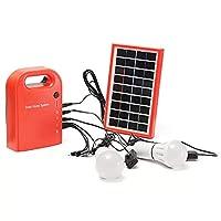 キャンプライト緊急用2個のLED電球付きポータブル大容量ソーラー電源銀行ホームシステムパネル 屋外ガーデンライト