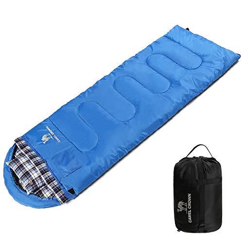CAMEL CROWN 寝袋 封筒型 冬用 軽量 防水 丸洗い コンパクト収納 簡単収納 連結可能 アウトドア 登山 防災用 車中泊 シュラフ 収納袋 枕付き 2.0kg -15°~5°C オールシーズン キャンプ