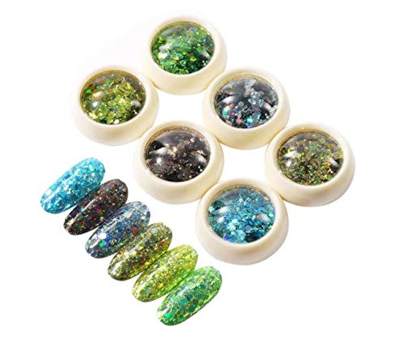 組み込むエンターテインメントニッケルTianmey 3Dネイルアート混合Glittertネイルパウダーネイルズ粉塵マニキュアネイルアートの装飾チャームアクセサリーを輝きます (Color : Diamond Green Series)