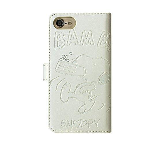 【DIST7-07】iPhone7 iPhone6s/6 ストーン付き手帳型iPhoneケース 【スヌーピー ホワイト】 PEANUS