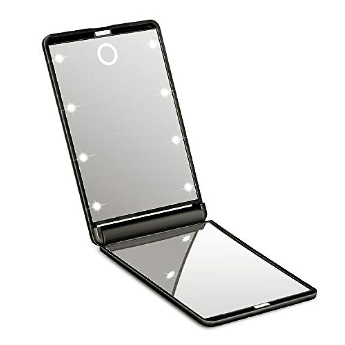シニススマッシュ概念【2019新版】SOTCAR 化粧鏡 ledミラー 8灯 折りたたみ式 コンパクト 化粧ミラー 女優ミラー 拡大鏡付き手鏡 携帯型 持ち運び便利 可能なスタンドミラー2倍拡大鏡付 明るさ調節可能 (ブラック)