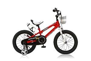 ROYALBABY(ロイヤルベイビー) 子ども用自転車 16インチ RB-Freestyle BMXスタイル フルカバーチェーンケース リアバンドブレーキ 取っ手付きサドル レッド