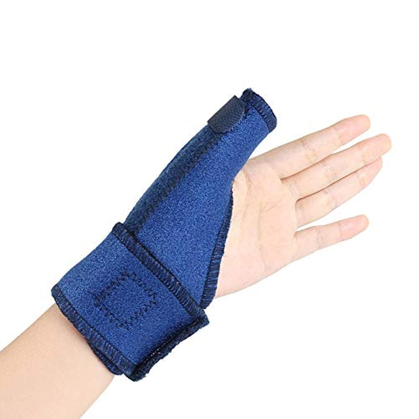 フロンティアストレスの多い電極yuio トリガーフィンガースプリントフィンガーブレースサムブレースサポート-関節炎用親指スピカスプリント、腱炎-シンプルなデザイン(右、青)
