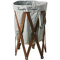 折りたたみ式 洗濯かご ランドリー ハンパー グレー/ブラウン EF-LH01GYBN