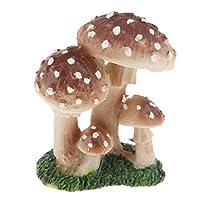 KESOTO マイクロ風景置物 キノコ装飾 ミニチュア DIY 盆栽 テラリウム 芝生 ガーデン ホーム装飾 工芸品 - ブラウンC