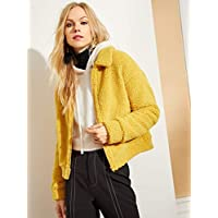 INFASHION Women's Ginger Casual Zip Front Fleece Teddy Jacket with Zipper