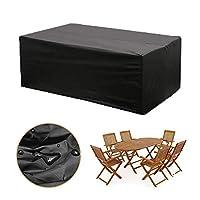 カバー 長方形のパティオヘビーデューティテーブルカバー、100%防水&UV耐性屋外ガーデンダイニングテーブルチェアカバー、ブラック (サイズ さいず : 213×132×74CM)