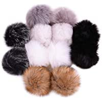 12pcs Faux Fox Fur Fluffy Pompom Ball for Hat Shoes Scarves Bag Charms