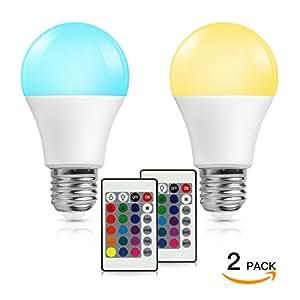 SH LED電球 調色可能 調光可能 リモコン操作 e26口金 60w相当 500ルーメン 電球色 LED 一般電球 2個セット 2年保証 LED RGB