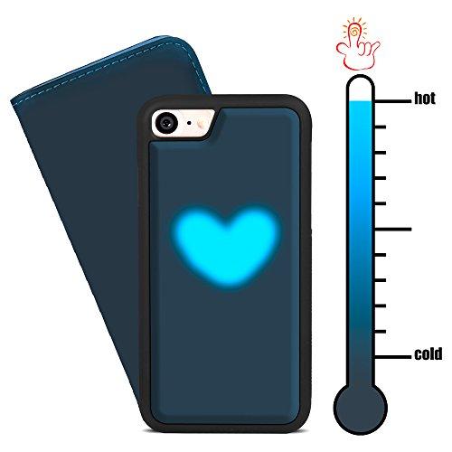 SHANSHUI アイフォンケース 熱感反応 変色携帯ケース 高級PU 分離式2way使える 手帳型カバー 色変わり 2カラー(色:ブラック→ブルー) 面白い(iPhone 7 ブラック)