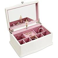 jewelkeeper Girls Wooden Musicalジュエリーボックス、クラシックデザインとバレリーナとミラー、白鳥湖Tune JB102WH