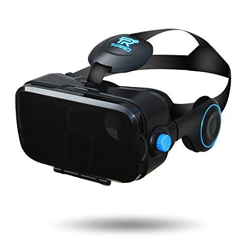 T-PRO 3D VR ゴーグル iOS android対応 iPhone 7 7plus 6s 6 6plus 5s xperia ゲーム 本体 おすすめ ヘッドセット一体型 ヘッドホン 視野角調節 近視対応 音量調節 galaxy ヘッドマウントディスプレイ 4.0~6.0インチスマホ対応【国内メーカー直販:1年保証付】 (ブラック)