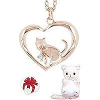 新宿銀の蔵 全2種類 オープンハート 猫 ダイヤモンド シルバー925 レディースネックレス ピンクゴールド 猫 ネックレス