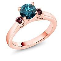 Gem Stone King 1.04カラット 天然 ブルーダイヤモンド 天然 ロードライトガーネット シルバー925 ピンクゴールドコーティング 指輪 リング