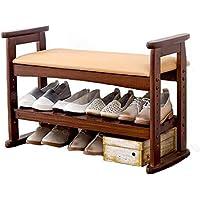 ソリッドウッドの靴ラックリフトPUの靴スツールストレージストレージシューズスツールブラウン(唯一の靴のラックを含む製品) (色 : Brown, サイズ さいず : 77cm*33cm*51cm)