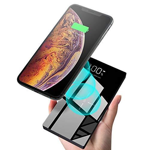 モバイルバッテリー 大容量 Qi 20000mAh Xperia Galaxy iphone 充電バッテリー ワイヤレス充電 ガラス画面 LCD残量表示 実効容量 急速充電 無線充電器 携帯充電器 三台同時充電 スマホ モバイル バッテリー 置くだけ充電 持ち運び 無線と有線両用 iPad Pro / iPhone X / XS MAX / XS / XR / iPhone8 / 8Plus / Galaxy Note9 / S9 / S9+ / S8 / S8 Plus / S7 edge / Sony Xperia XZ3 / XZ2 Premium 各種他QI対応 出張 地震防災 黒