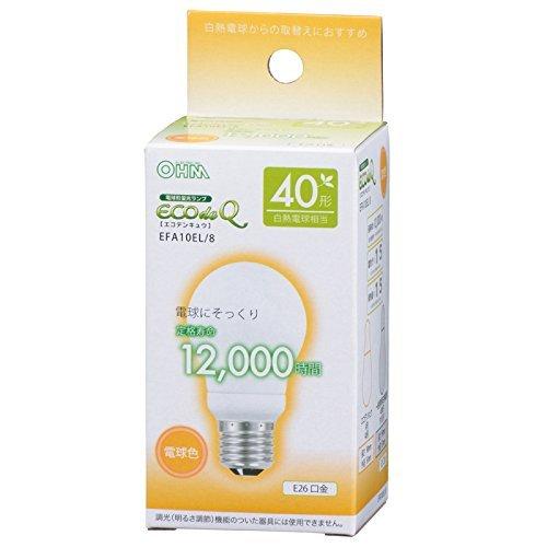OHM 電球形蛍光灯 E26 40形相当 電球色 エコデンキュウ_EFA10EL/8 06-0269
