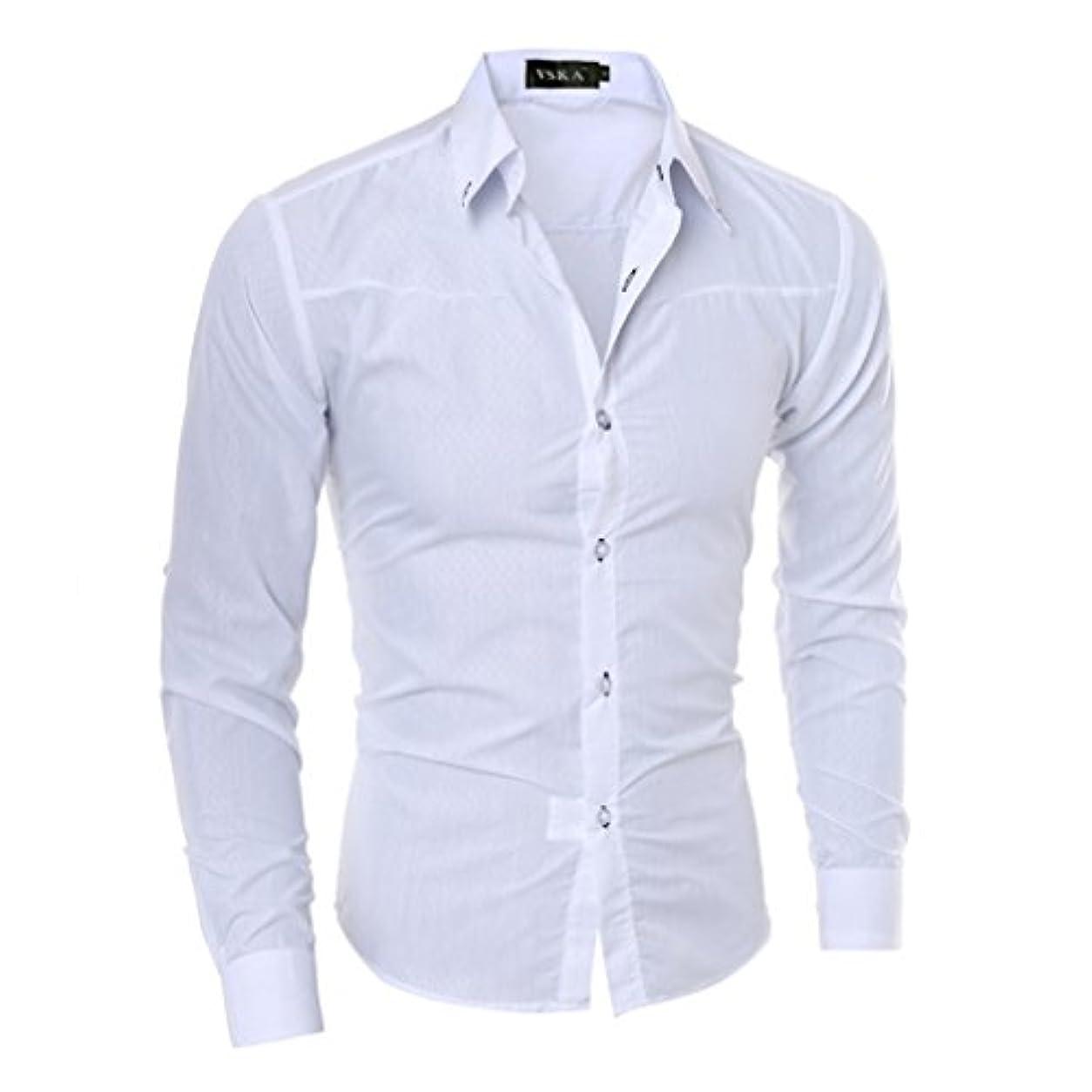 非武装化アクティビティファンシーHonghu メンズ シャツ 長袖 チェック柄 ホワイト M 1PC