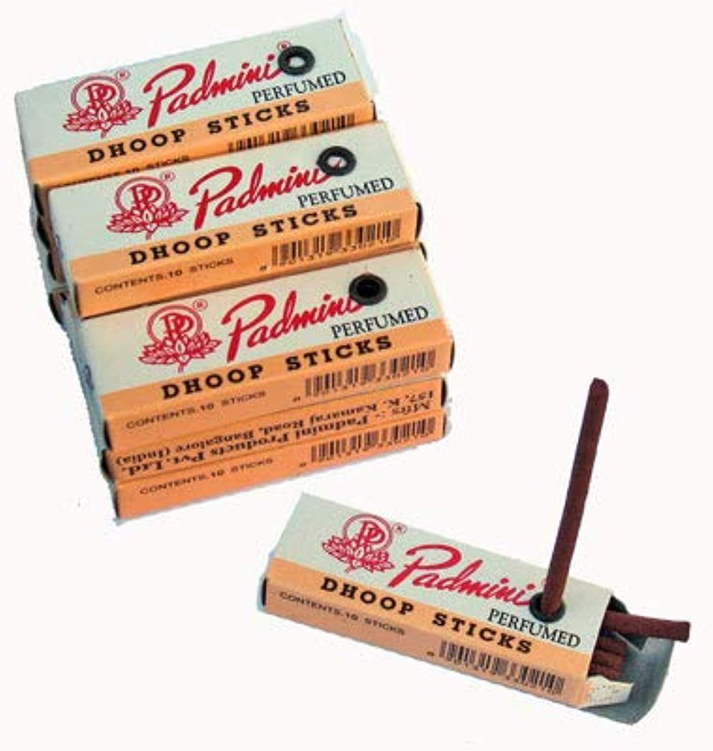 粘着性トレイル絶滅したPadmini Dhoop Sticks – 12ボックスの10 Sticks各 – 5