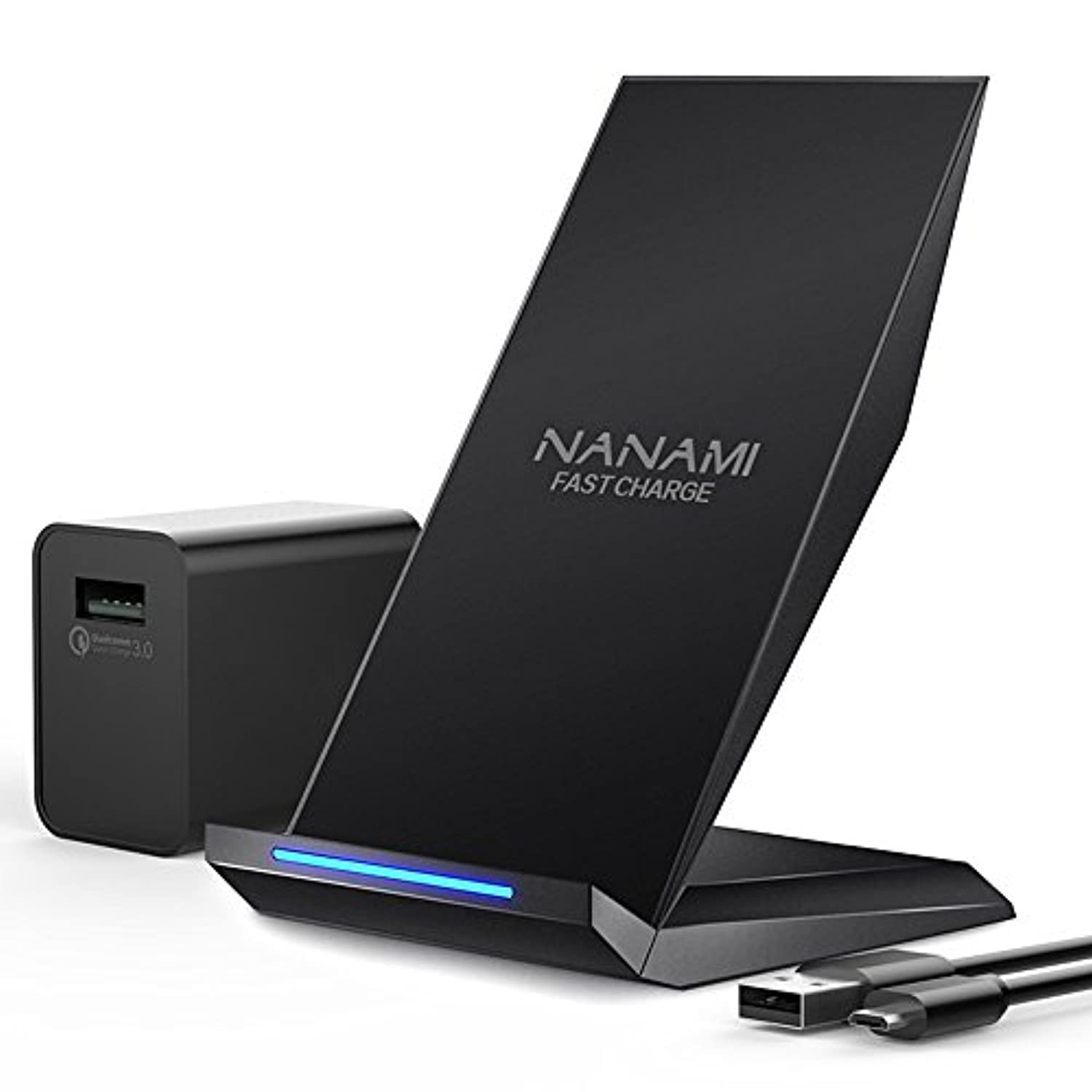 NANAMI Qi急速ワイヤレス充電器セット ?QC 3.0アダプター付属? 2コイル Quick Charge 3.0 ワイヤレスチャージャー おくだけ充電 iPhone X/ XS/ XR/ XS Max/ 8 / 8 Plus、Galaxy S9/S9 Plus/ Note9/ Note8/S8/S8 Plus/ S7/S7 Edge/Note 5/S6 Edge Plus/他Qi対応機種 qi 充電器 黒色セット(日本語説明書付属)