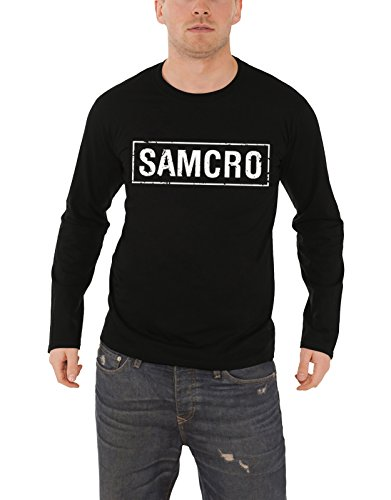 Sons Of Anarchy Long Sleeve T Shirt SAMCRO Distressed 新しい 公式 メンズ ブラック