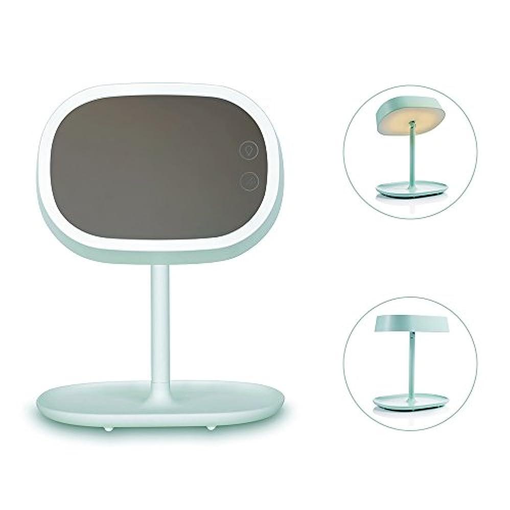 ひどい祭り原点Ichic 卓上LED化粧鏡 メイクミラー ベッドサイドランプ 180度回転 明るさ調節可能 USB充電