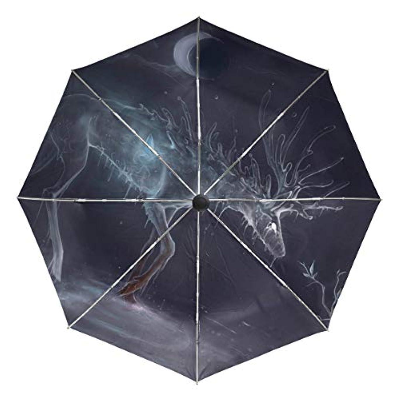 人間キャンドル葉巻傘 自動傘 丈夫 台風対策 雨傘 日傘 銀河 月 エルク 三つ折り傘 日よけ傘 日焼け止め 折りたたみ傘 UVカット 紫外線カット 自動開閉 晴雨兼用 梅雨対策
