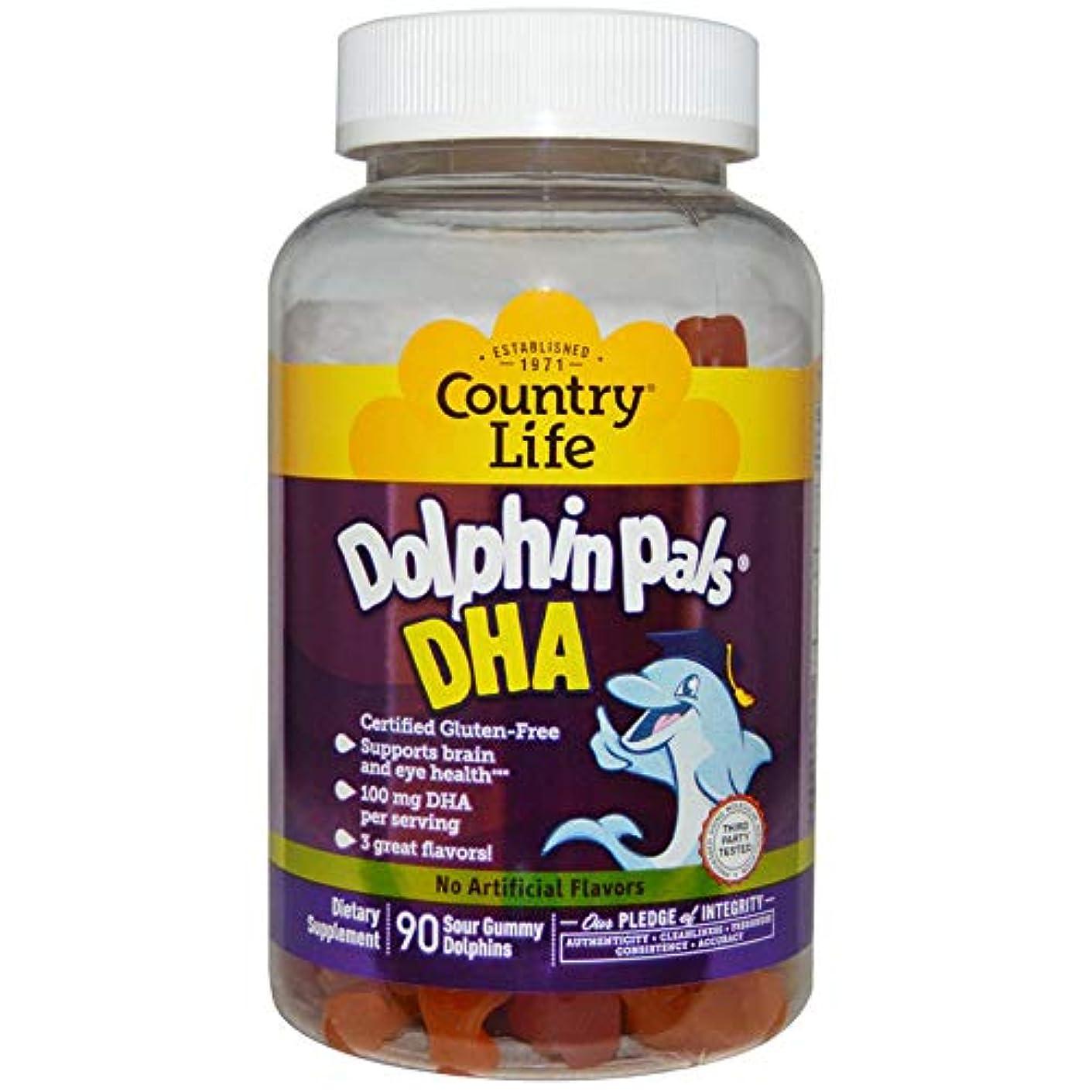 女王去る持っている海外直送品Country Life Dolphin Pals DHA Gummies For Kids, 90 ct