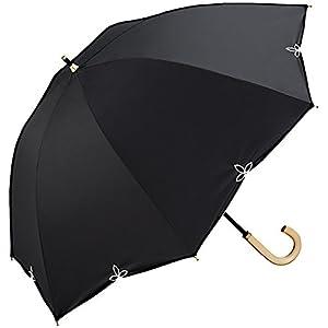 w.p.c (ワールドパーティ) 長傘 手開き 日傘/晴雨兼用傘 遮光 バードケージ ワイド スカラップ'17 全2色 ブラック 7本骨 55cm UVカット 99% 以上 木製ハンドル 81-6569BK