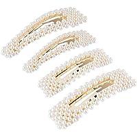 Pearls Hair Clips, Decorative Wedding Bridal Artificial Pearl Hair Pins, Hair Barrettes Styling Tools Hair Accessories for Women Ladies Girls 4 PCS (A)