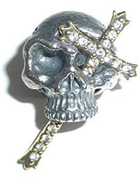 【シルバーアクセサリー ペンダント?ネックレス】パイレーツ スカル シルバー ペンダント 十字架 ロック メンズ