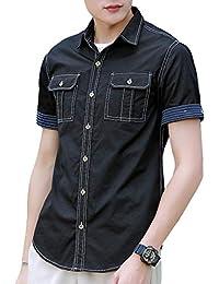 [meryueru(メリュエル)] ショートスリーブ ワークシャツ カジュアル ベーシック トップス アウター コットン メンズ