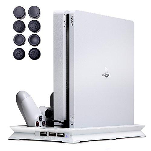 【7Gadget】 PS4 スタンド スリム 専用 縦置き(静音冷却ファン コントローラー2台充電 USBハブポート) 日本語説明書 1年保証付き ホワイト
