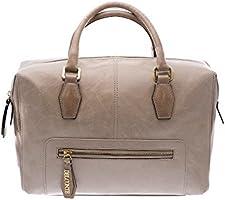 Giotto ツートンカラー 子牛革製 ハンドバッグ ジッパー開閉部&フロントポケット付き