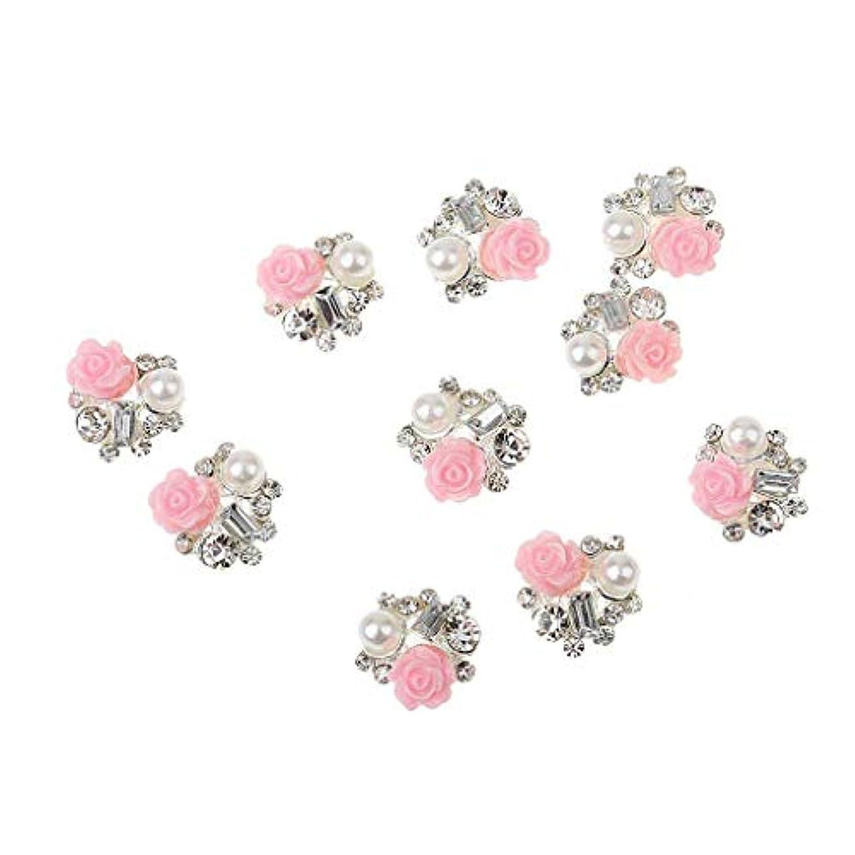 代わりに汗傑作10美しい3dネイルダイヤモンドネイルファッションスタイルローズフラワーパールグリッターネイル装飾置き換えます