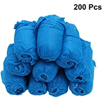 DOITOOL 100PCS Disposable Boot Shoe Covers Non Slip Waterproof Shoe Protectors Covers for Construction, Office, Floor Carpet Protection (Thickened, Blue)