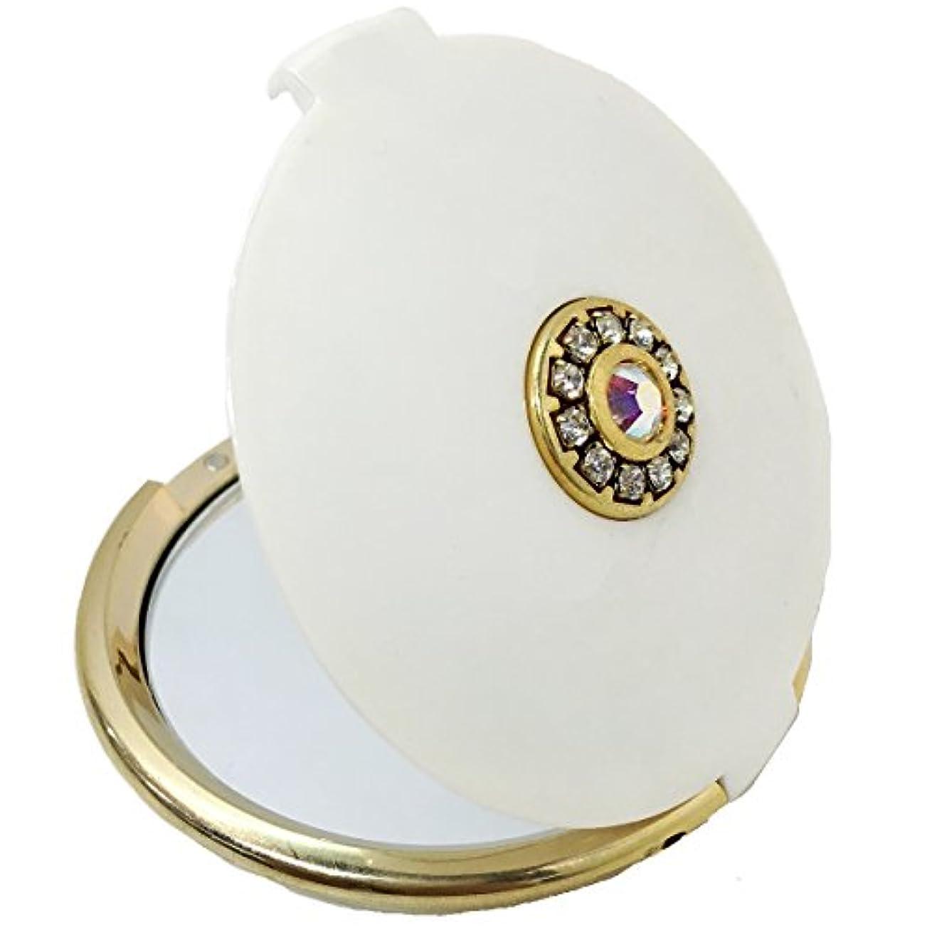 センコー 両面コンパクトミラー ホワイトパール ゴールド 直径:約8cm 51451