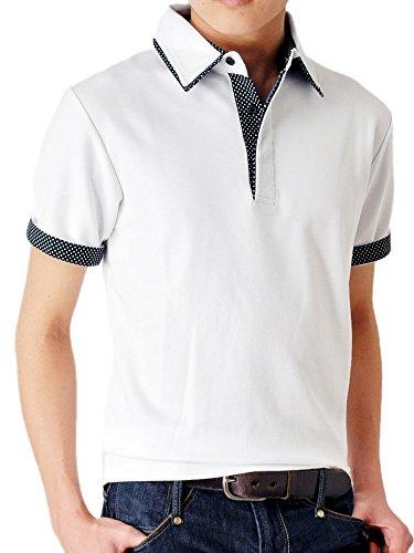 (アローナ)ARONA ドット使い ダブル衿 カノコ 半袖 ポロシャツ /M1.5/ ホワイト M
