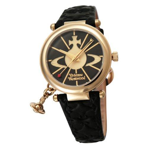 [ヴィヴィアンウエストウッド]Vivienne Westwood 腕時計 オーブ ゴールド 黒革 クォーツ レディース VV006BKGD レディース 【並行輸入品】