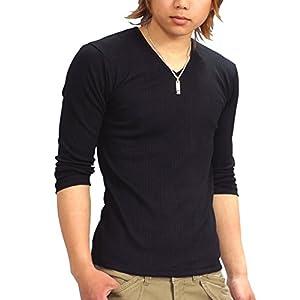 (スペイド) SPADE Tシャツ メンズ 無地 七分袖 カットソー Vネック プレーン【q424】 (M, ブラック)