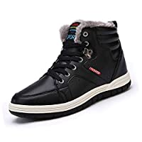 Lauwodun Men's Snow Boots Waterproof High Top Sneakers Fully Fur Winter Shoes for Outdoor/Sports/Casual/Daily(Black 43) [並行輸入品]
