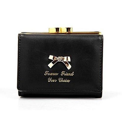 かわいい リボン付 財布 2つ折り がま口 小銭入れ レディース 巾着ポーチ付き (ブラック, フリー)