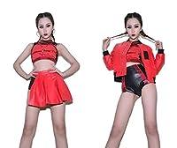 チアガール レディースコスプレ衣装 コスチューム チアリーダー衣装 トップス ミニスカート 応援団員 ユニフォーム ダンス練習着 韓流女子団体*WZL80 (レッド#ノースリーブ#トップス,Small)