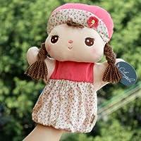 超癒し系 やさしい お顔が かわいい 女の子 フワフワ パペット 子供さんから お年寄りまで 愛され顔 (ホワイト×ピンクの小花ちゃん)