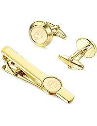 Besteel Mens Cufflinks and Tie Clips Set Gold Engraved Initial Cufflinks Tie Bar for Men Formal Business Wedding Shirts Alphabet Letter A-Z Gift Box