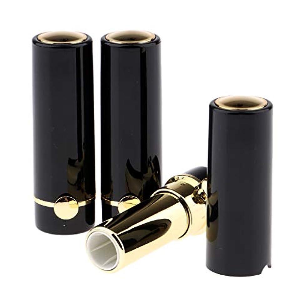 慢引退した煙リップクリームチューブ DIY工芸品 化粧品 詰め替えボトル リップグロスチューブ 12.1mm 全3色 - ブラック